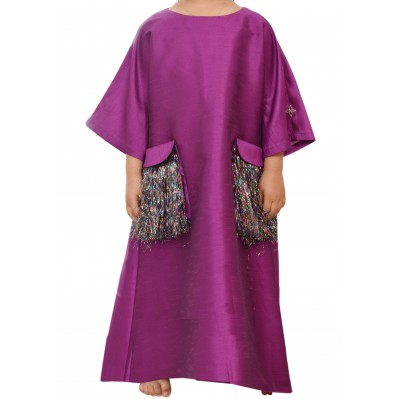 Purple Kaftan With Pockets