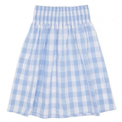 Blue gingham smocked skirt