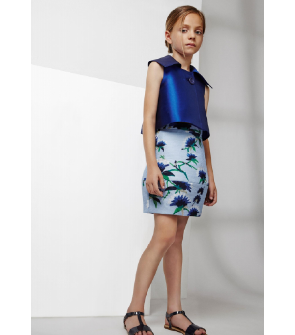 Bourget Skirt - Flowers Printed Jacquard