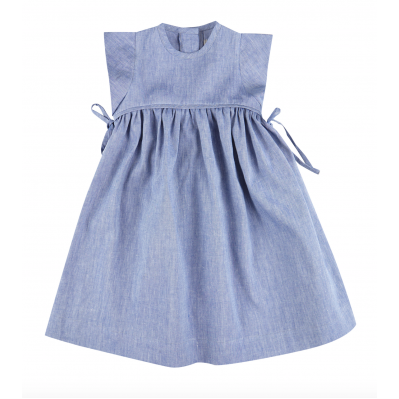 Bow dress - Denim linen