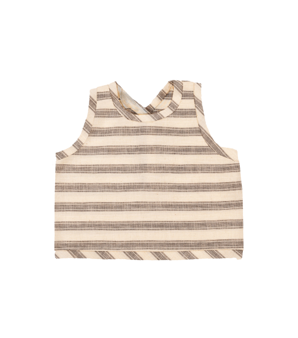 Crossback Top - Natural and Black Stripe