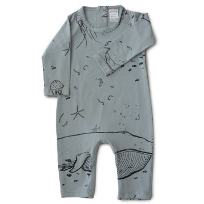 Gray  'UNDER THE SEA' Long Sleeves Romper