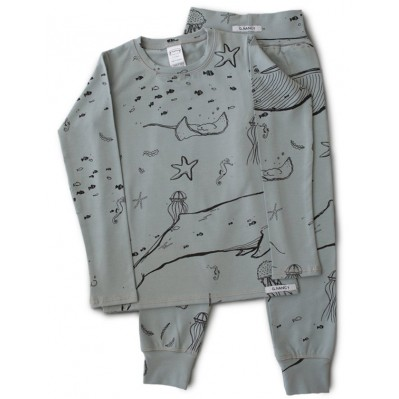 "Gray ""Under the Sea""  Long PJ set"