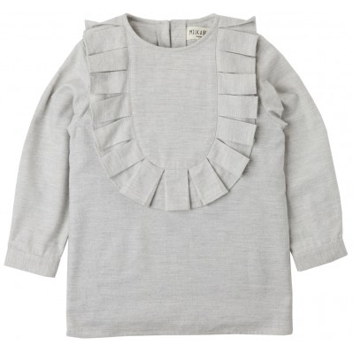 Grey Ruffle Bib Blouse