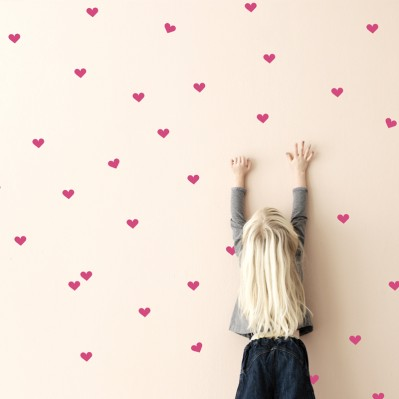 Mini Hearts Wall sticker - Neon Pink