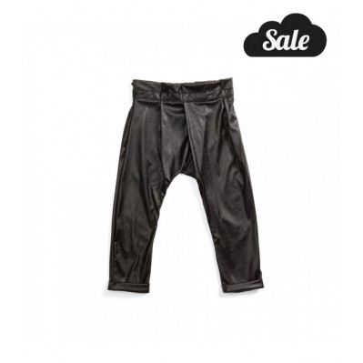 Pleated pants faux leather