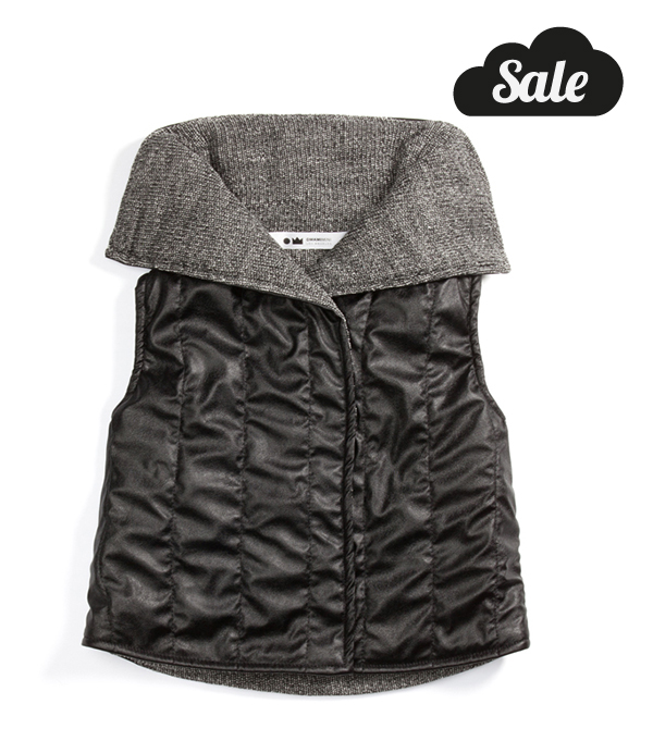 Quilted faux leather vest with knit lining