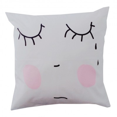 Sad face cushion cover