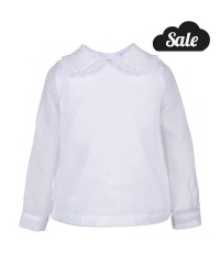 Sheer Organdy Pleated Collar Blouse