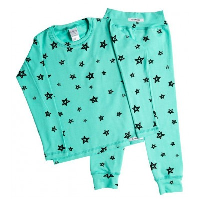 Teal Star Long PJ Set