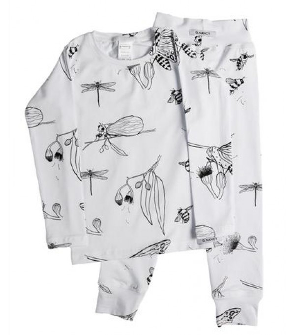 White Bug Long PJ Set